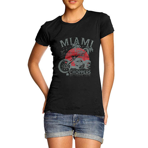 Womens Biker Distress Print Miami Beach Choppers T-Shirt