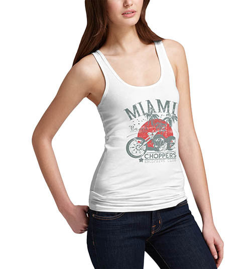 Womens Biker Distress Print Miami Beach Choppers Tank Top