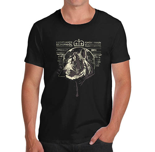 Mens Tiger Face Distress Print T-Shirt