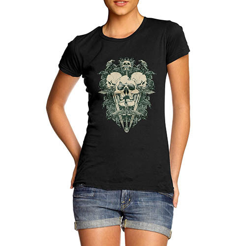 Womens Green Devil Skull Print Graphic T-Shirt