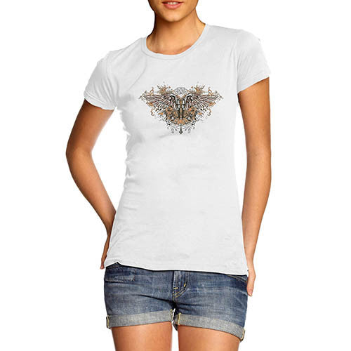 Womens Gothic Twin Gun Wings T-Shirt