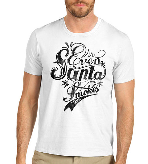 Mens Even Santa Smokes Funny Weed T-Shirt