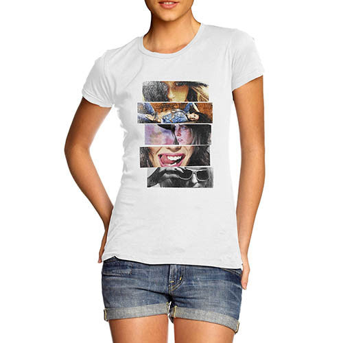 Womens Fashion Collage Printed T-Shirt