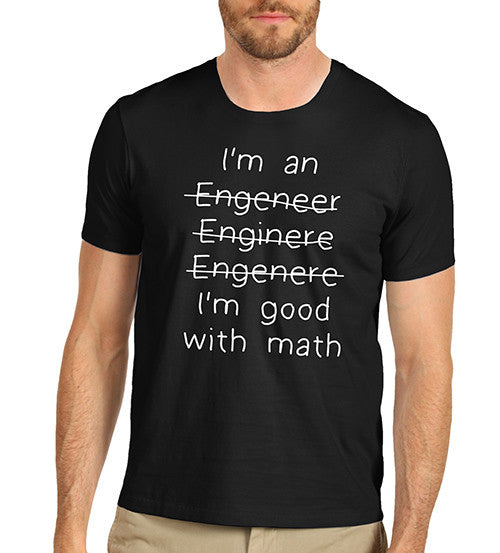 Men's Good With Maths Not With Spelling Funny T-Shirt
