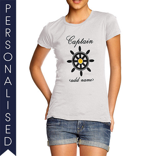Women's Personalised Captain Printed T-Shirt - Twisted Envy Funny, Novelty and Fashionable tees