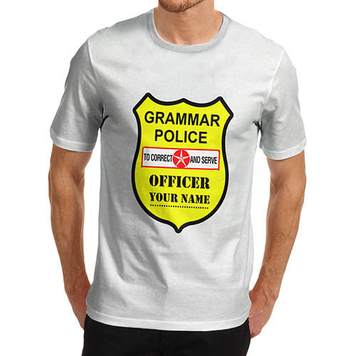 Men's Personalised Grammar Police T-Shirt