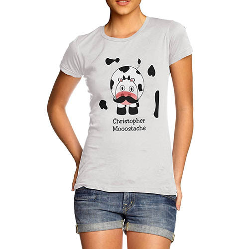Women's Mooostache Cow Funny T-Shirt