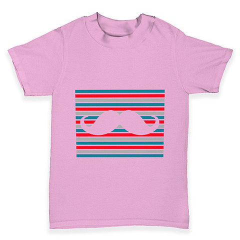 Candy Stripe Moustache Baby Toddler T-Shirt