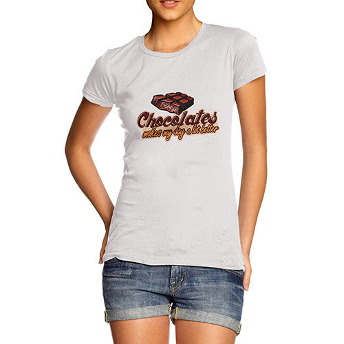 Womens Chocolate Makes My Day Better T-Shirt