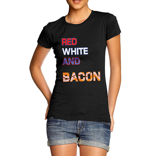 Womens Red White And Bacon T-Shirt