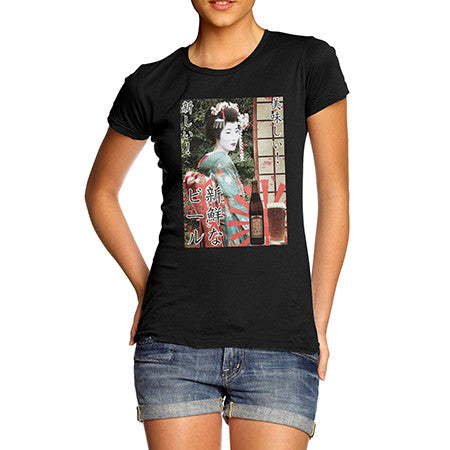 Womens Japanese Beer Poster T-Shirt