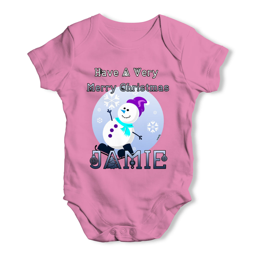 Personalised Christmas Snowman Baby Grow Bodysuit