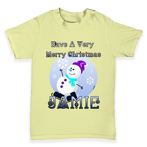 Personalised Christmas Snowman Baby Toddler T-Shirt