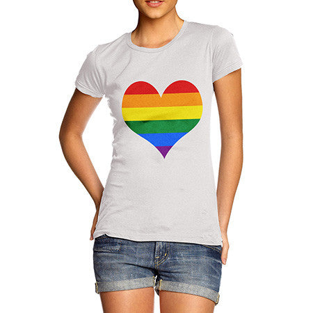 Women Rainbow Heart T-Shirt