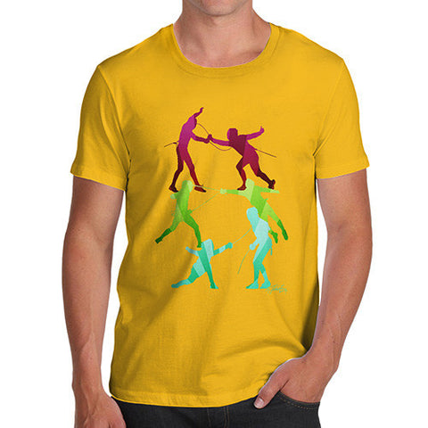 Men's Rainbow Fencing Pattern T-Shirt