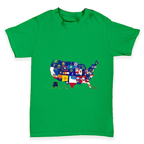 USA States and Flags Baby Toddler T-Shirt