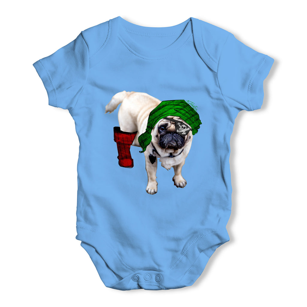 One-Eyed Pirate Pug Baby Grow Bodysuit