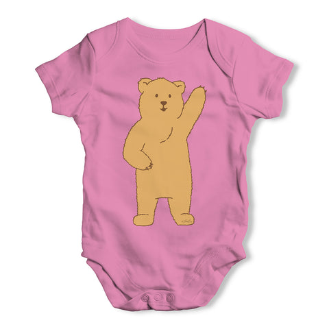 Silly Bear Waving Baby Grow Bodysuit