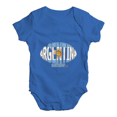 Funny Infant Baby Bodysuit Argentina Rugby Ball Flag Baby Unisex Baby Grow Bodysuit Newborn Royal Blue