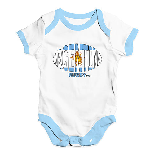 Baby Girl Clothes Argentina Rugby Ball Flag Baby Unisex Baby Grow Bodysuit 0-3 Months White Blue Trim