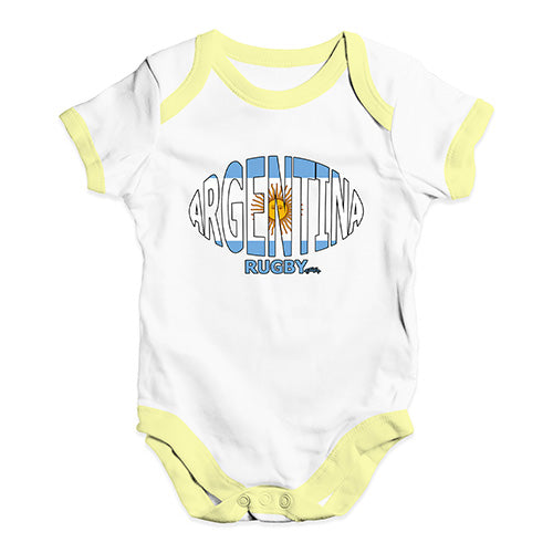 Funny Baby Clothes Argentina Rugby Ball Flag Baby Unisex Baby Grow Bodysuit 3-6 Months White Yellow Trim