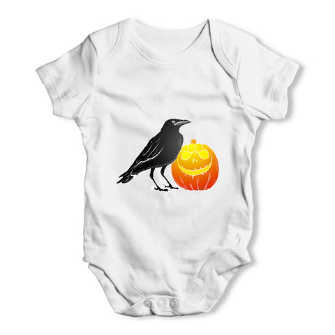 Halloween Black Crow and Pumpkin Baby Grow Bodysuit
