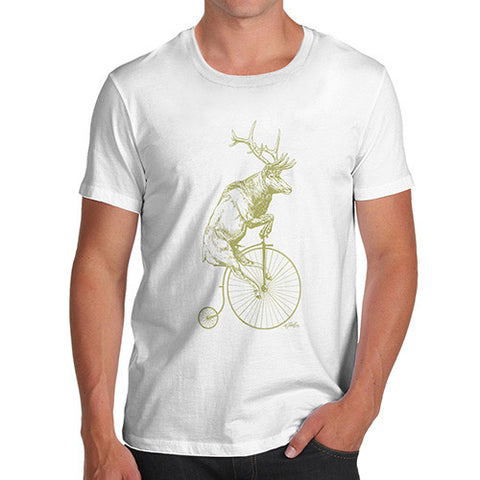 Men's Reindeer On Penny Farthing T-Shirt
