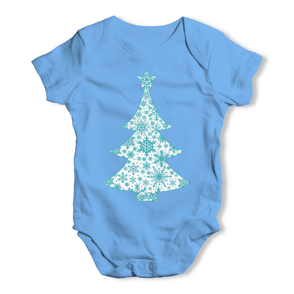 Snowflake Christmas Tree Baby Grow Bodysuit