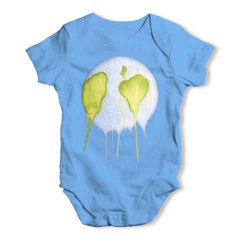 Dripping Watercolour Planet Earth Baby Grow Bodysuit