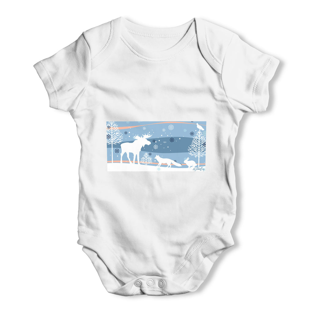 Wildlife in Winter Woods Baby Grow Bodysuit