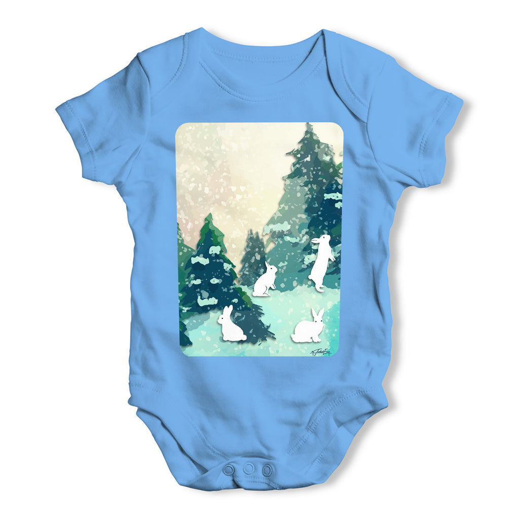 Rabbits in Snow Covered Woods Baby Grow Bodysuit