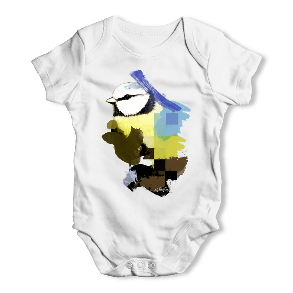 Watercolour Pixel Blue Tit Bird Baby Grow Bodysuit