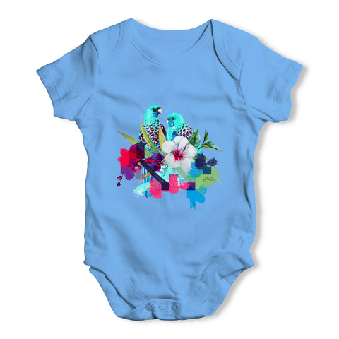 Watercolour Pixel Birds With Flowers Baby Grow Bodysuit