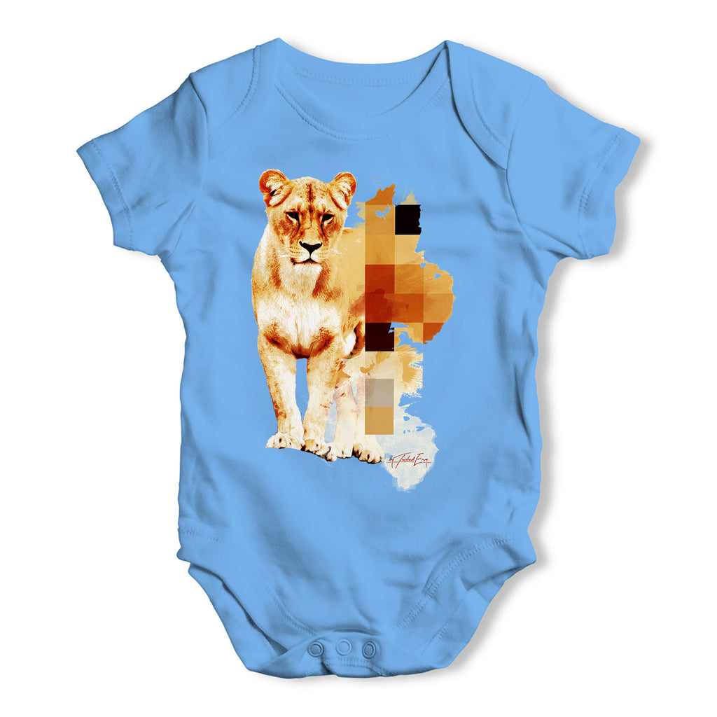 Watercolour Pixel Lion Baby Grow Bodysuit