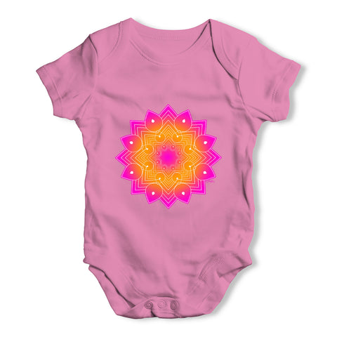 Geometric Pink & Orange Mandala Baby Grow Bodysuit