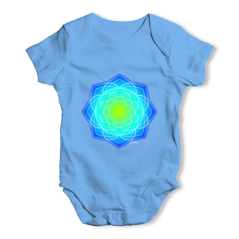 Geometric Blue & Green Mandala Baby Grow Bodysuit