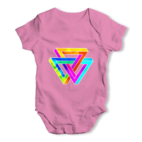 Geometric Rainbow Penrose Triangle Baby Grow Bodysuit