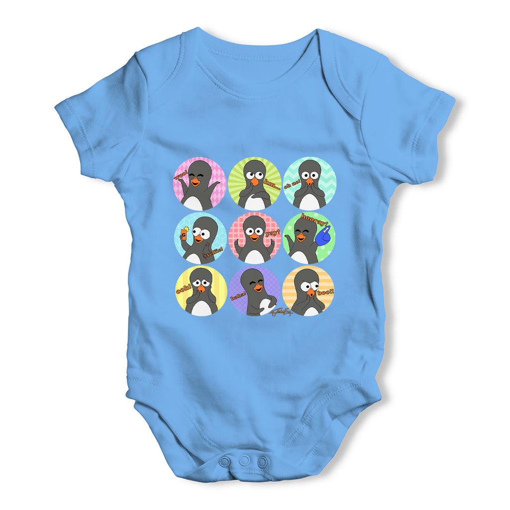 Guin The Penguin Emoticons Baby Grow Bodysuit