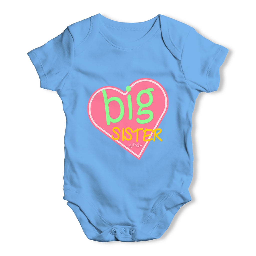 Big Sister Heart Sibling Baby Grow Bodysuit
