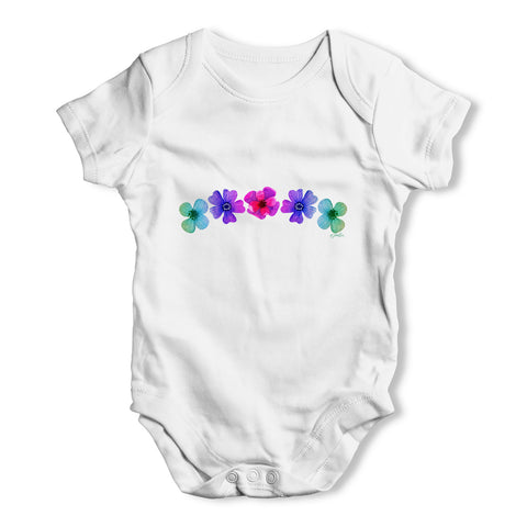 Hawaiian Flowers Baby Grow Bodysuit