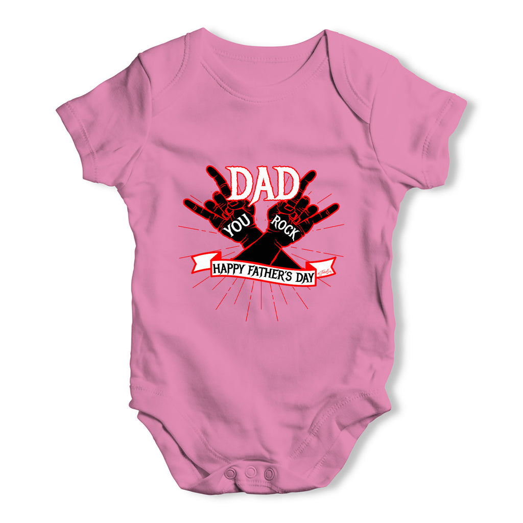 Father's Day Dad You Rock Baby Grow Bodysuit
