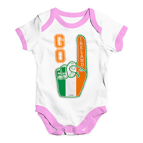 Baby Girl Clothes Go Ireland! Foam Finger Baby Unisex Baby Grow Bodysuit 6-12 Months White Pink Trim