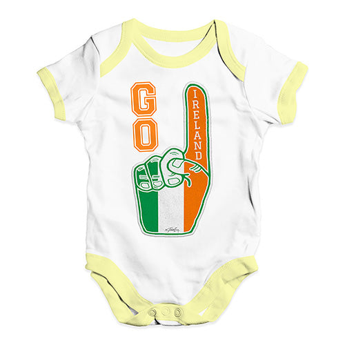 Funny Baby Clothes Go Ireland! Foam Finger Baby Unisex Baby Grow Bodysuit 18-24 Months White Yellow Trim