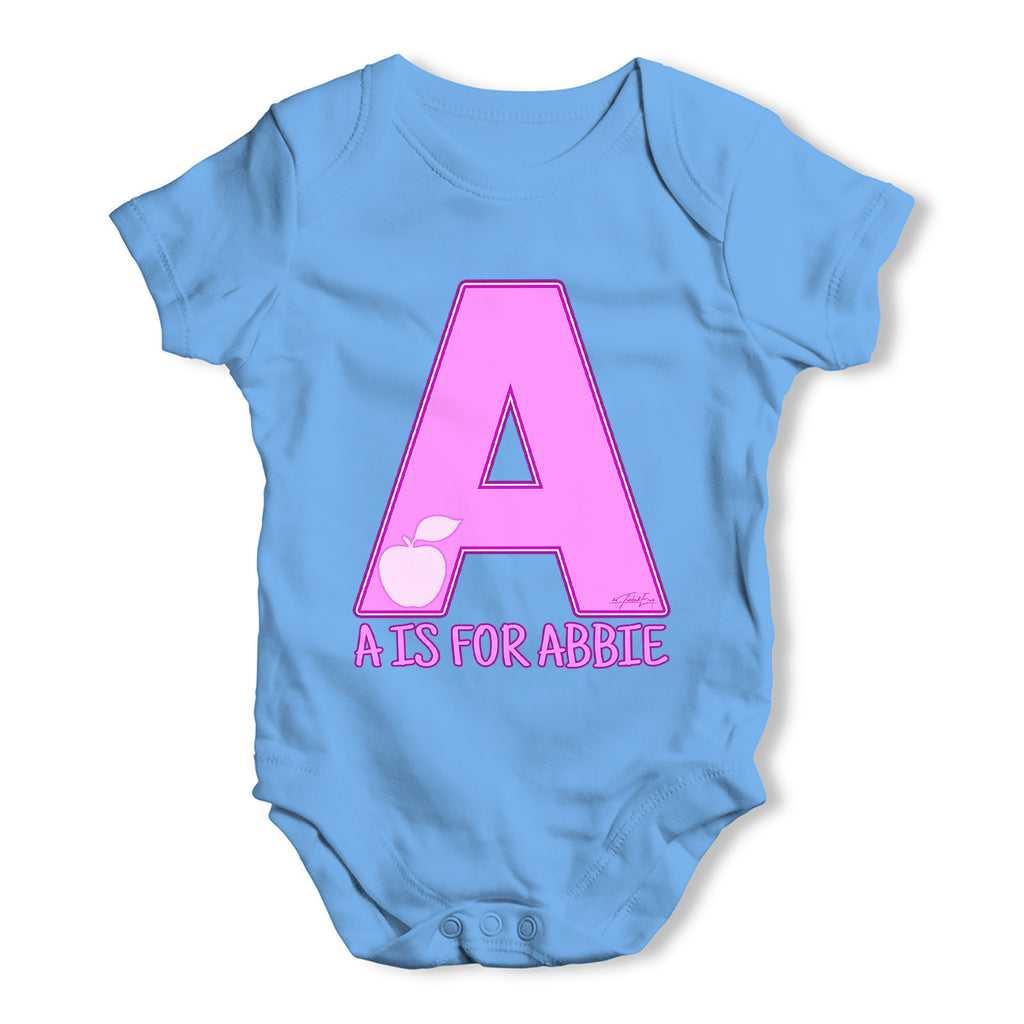 Personalised Letter A Baby Grow Bodysuit