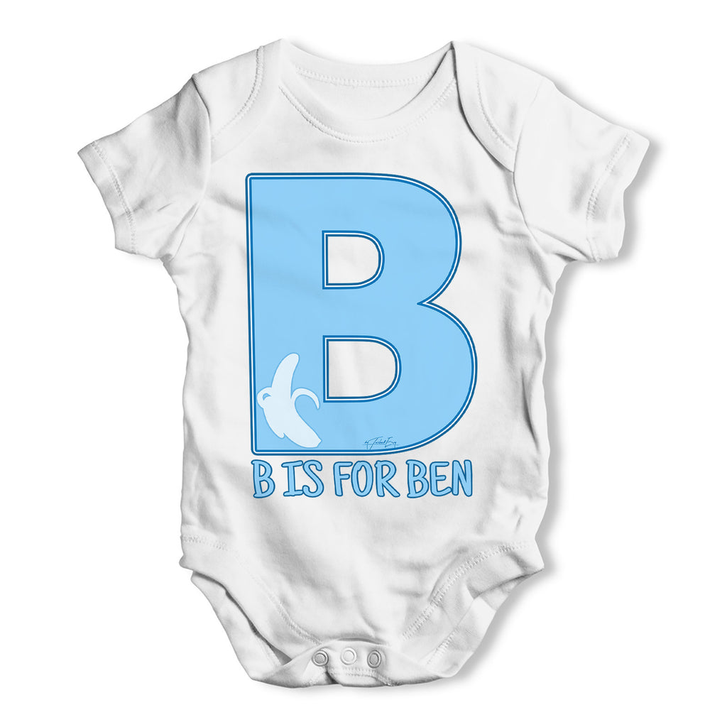 Personalised Letter B Baby Grow Bodysuit