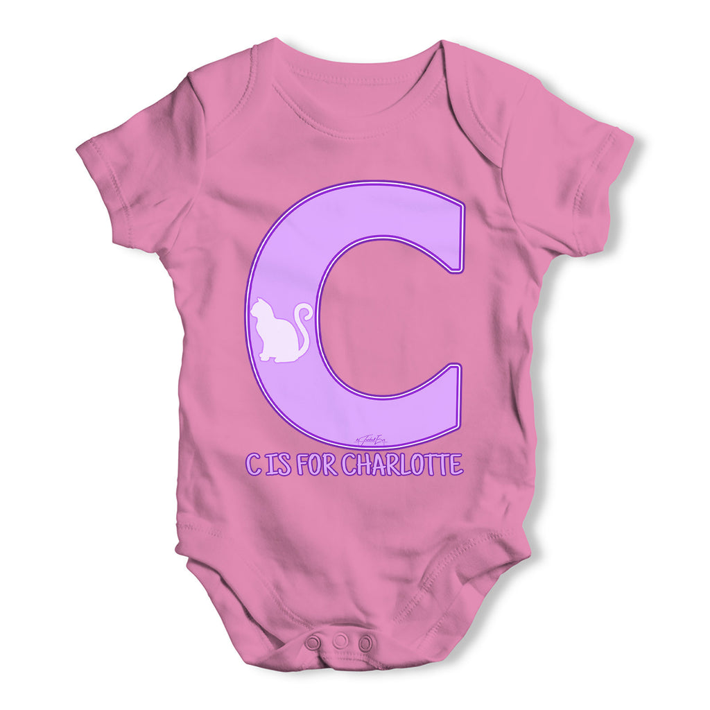 Personalised Letter C Baby Grow Bodysuit