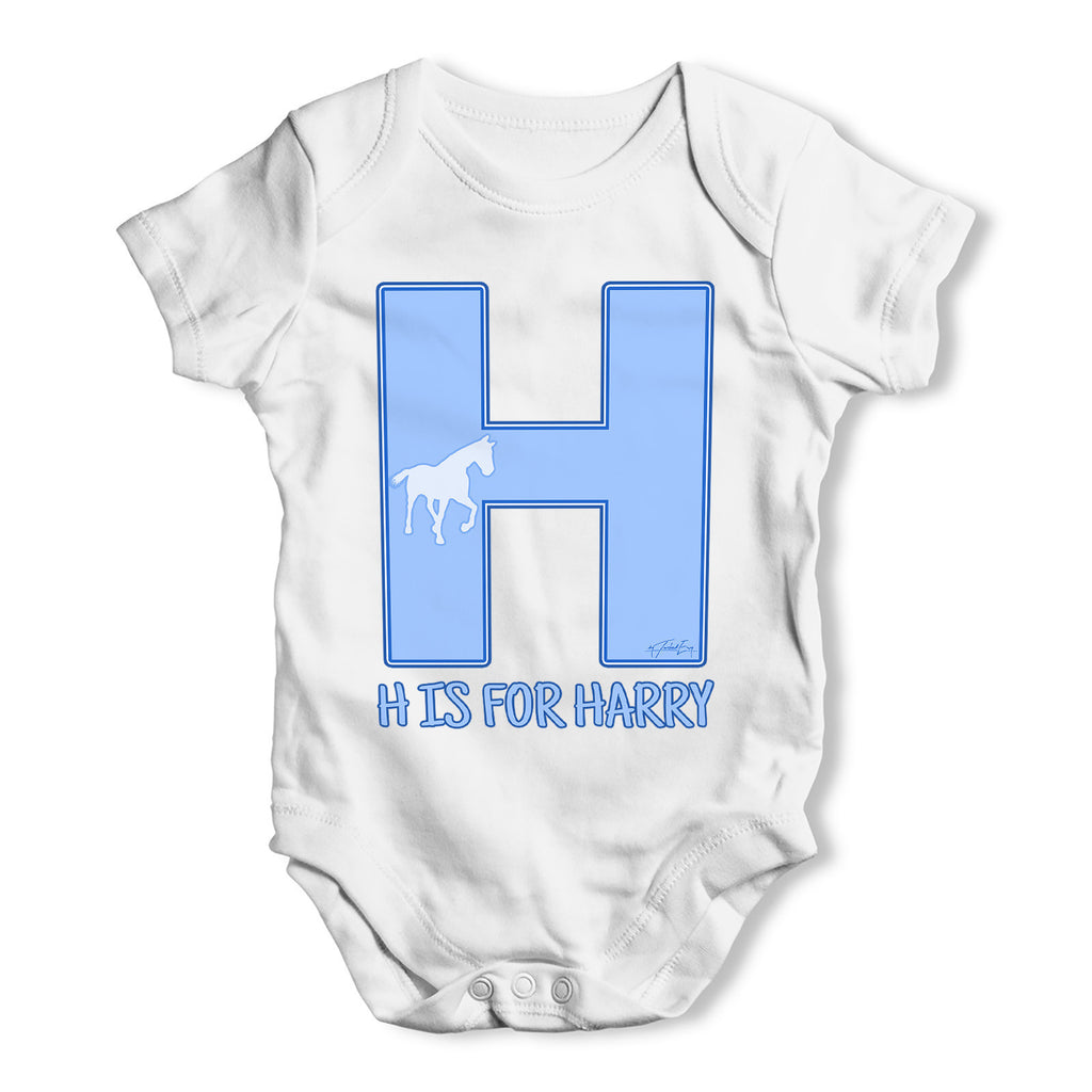 Personalised Letter H Baby Grow Bodysuit