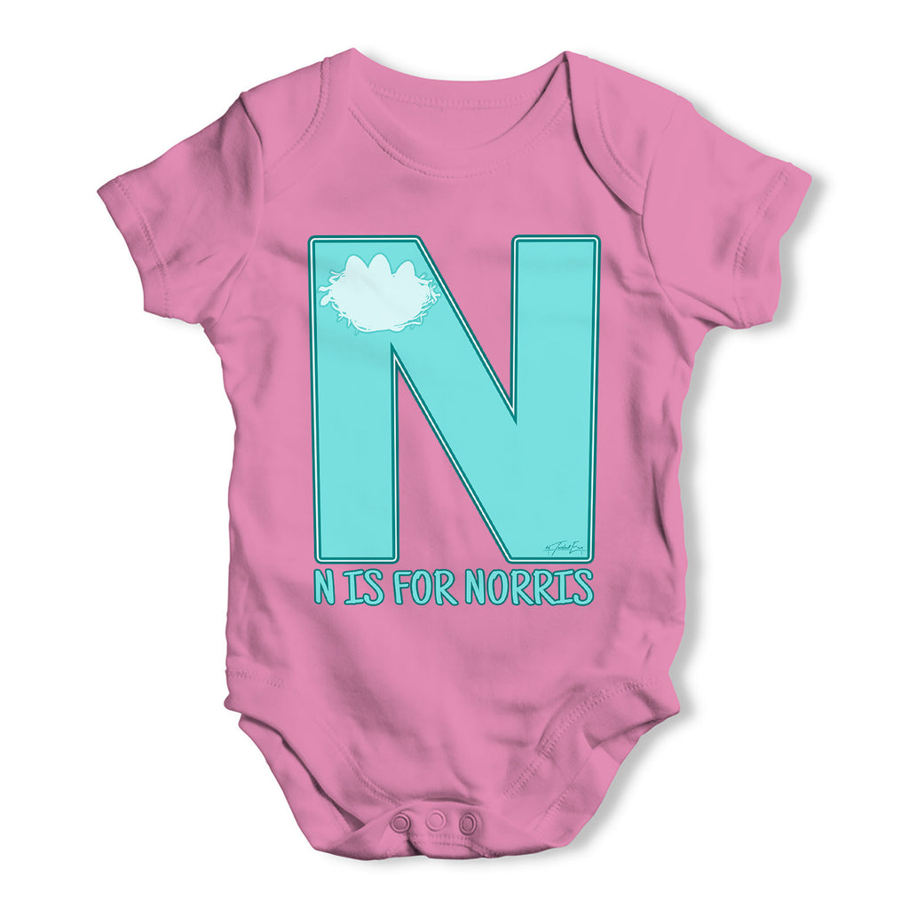 Personalised Letter N Baby Grow Bodysuit