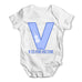 Personalised Letter V Baby Grow Bodysuit