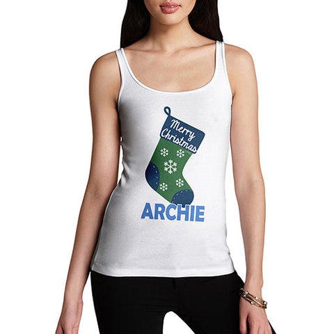 Merry Christmas Stocking Personalised Women's Tank Top